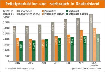 Pelletproduktion und verbrauch in Deutschland Anteil E Nplus DEPI Pelletproduktion und verbrauch mit E Nplus 2020